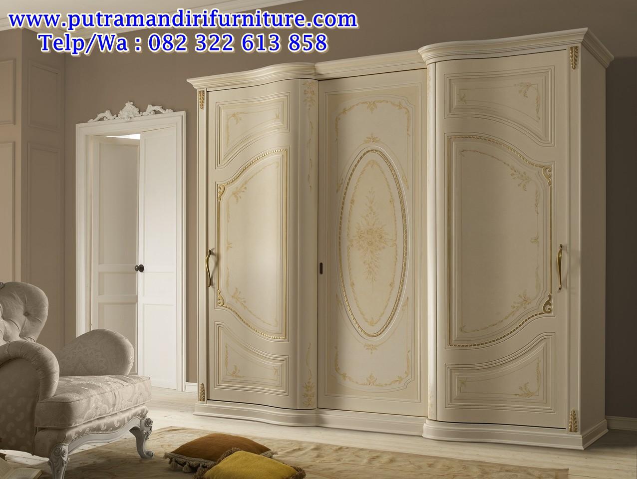 lemari 3 pintu model lengkung mewah modern