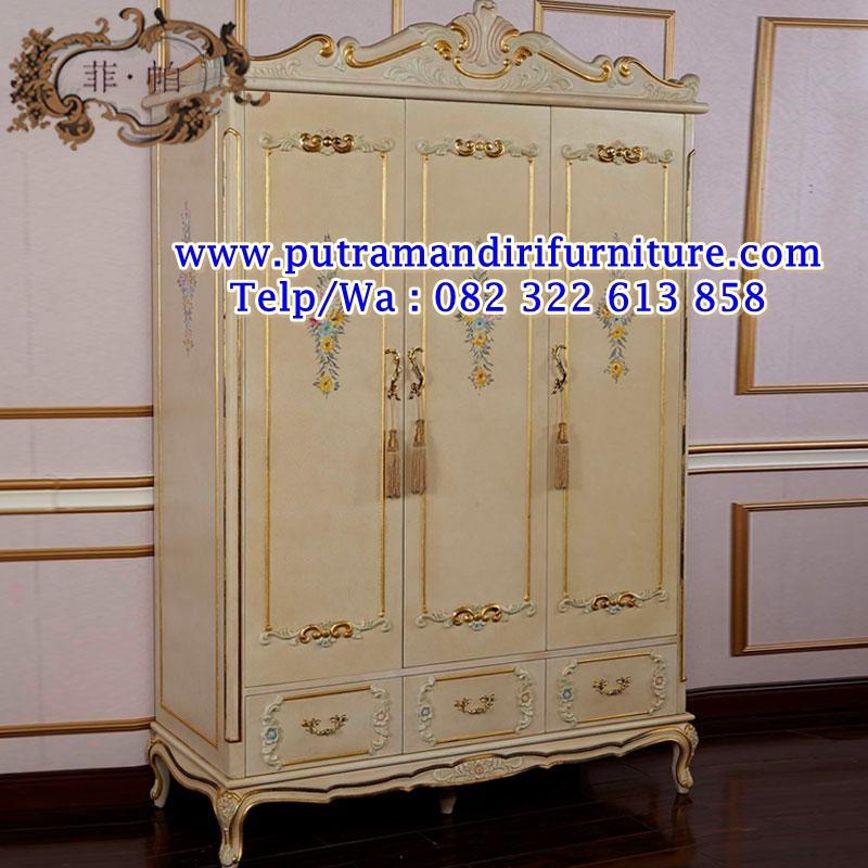 lemari pakaian 3 pintu ukiran royal klasik