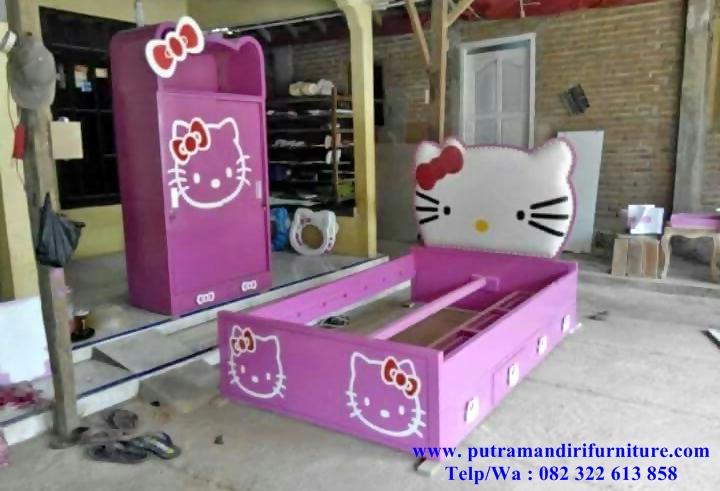 Set Kamar Tidur Anak Hello Kitty Mewah Desain Model Furniture Jepara Terbaru