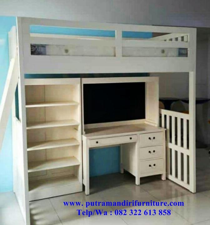 Set Tempat Tidur Anak Tingkat Plus Meja Belajar Desain Model Furniture Jepara Terbaru