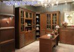 lemari buku kayu kaca