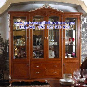 lemari bufet 4 pintu jati kaca