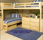 set tempat tidur tingkat plus meja belajar